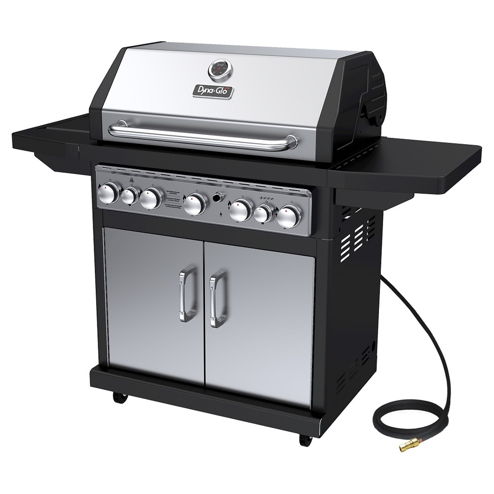 Dyna-Glo 5 Burner Natural Gas Grill with Side Burner and Rotisserie Burner, Silver 50024096