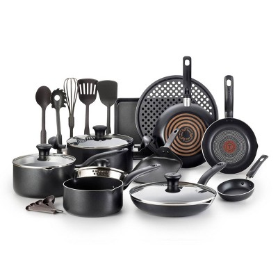 T-fal Simply Cook Nonstick Cookware, 20pc Set, Black