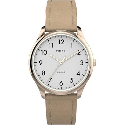Women's Timex Easy Reader Leather Strap Watch - Rose Gold/Beige