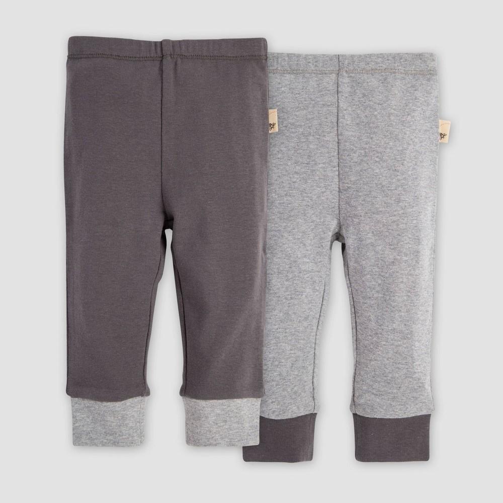 Image of Burt's Bees Baby Baby Organic Cotton Solid Cuff Lounge Pants - Heather Gray 0-3M, Kids Unisex