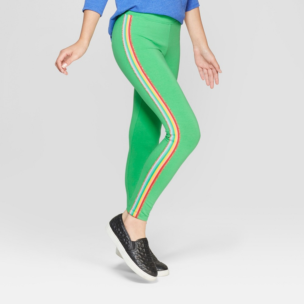 Girls' Rainbow Side Stripe Leggings - Cat & Jack Green XS