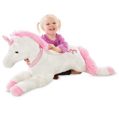 HearthSong - Large Super Soft Dazzle the Plush Unicorn with Embroidered Hearts and Sparkly Pink Horn and Collar