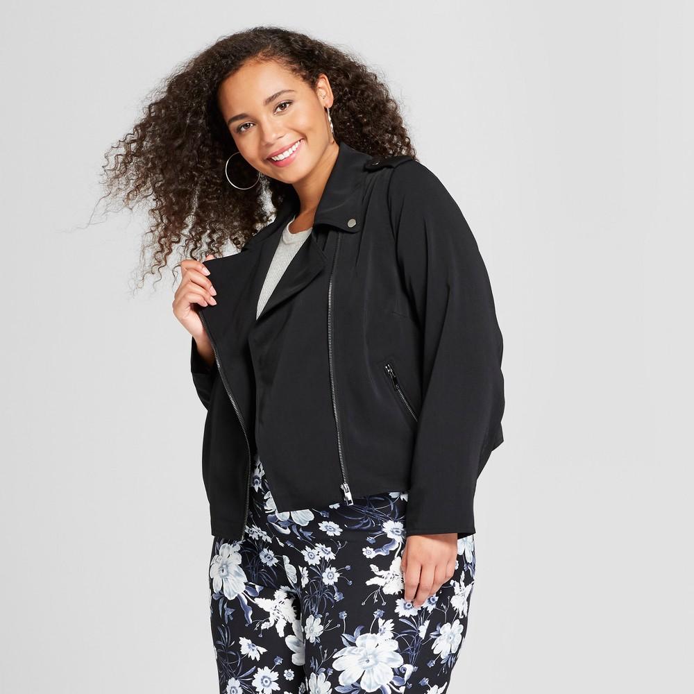 Women's Plus Size Drapey Moto Jacket - Who What Wear Black 4X
