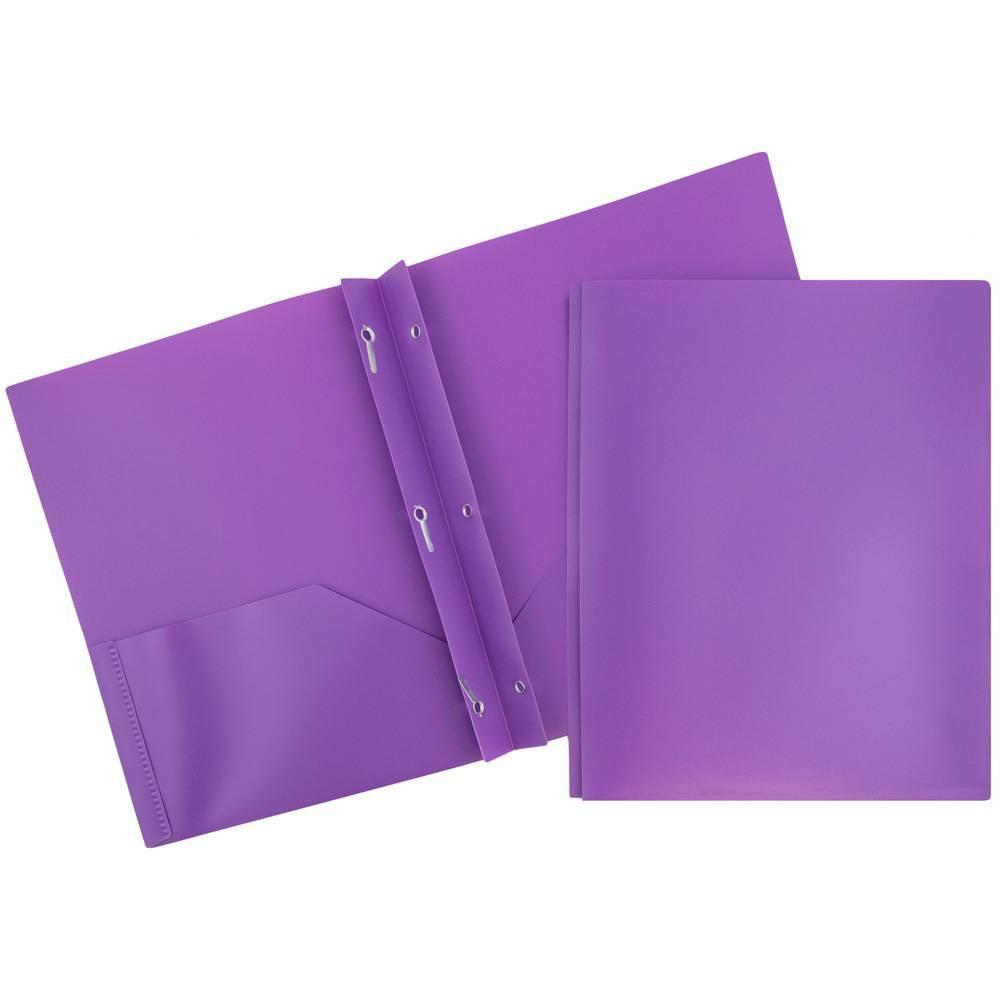 Jam 6pk 2 Pocket Plastic Folders With Prong Fasteners Purple