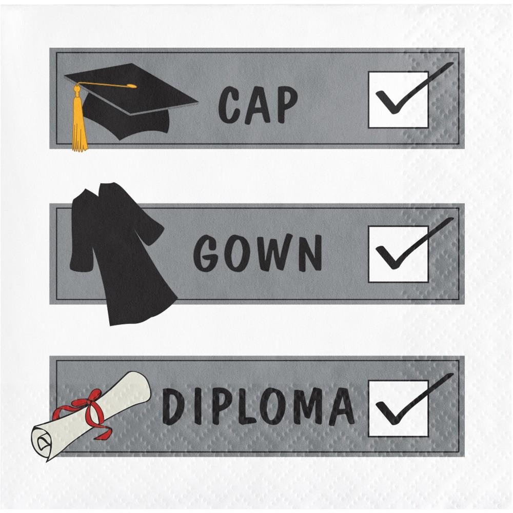 Check List Graduation Beverage Napkins, Multi-Colored