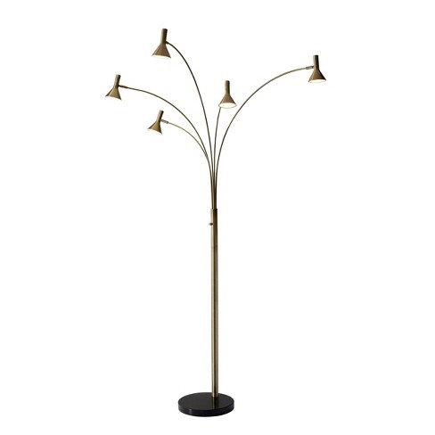 """76"""" Maxwell LED Arc Lamp (Includes Energy Efficient Light Bulb) Brass - Adesso - image 1 of 2"""