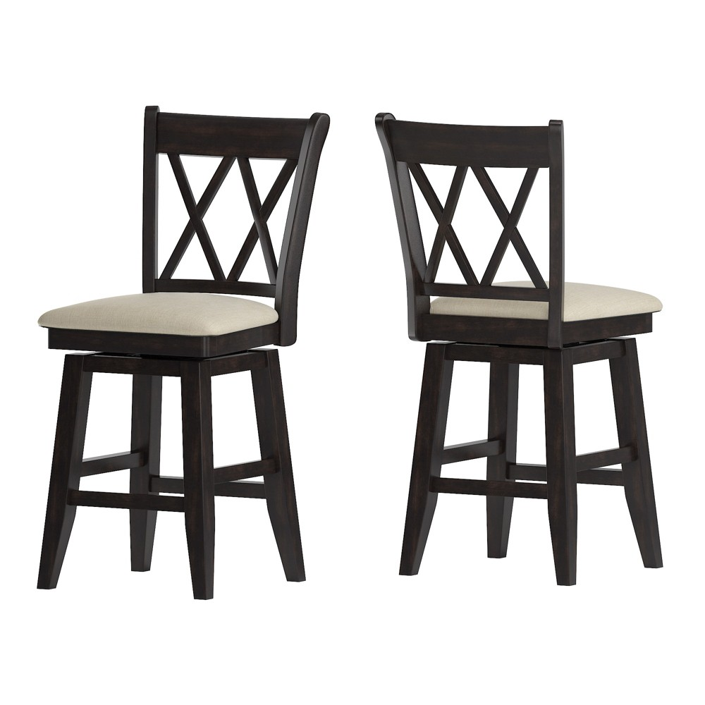 """Image of """"24"""""""" South Hill Double X Back Swivel Counter Height Chair Black - Inspire Q"""""""