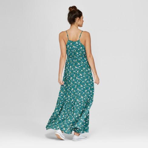 Women s Floral Print Ruffle Hem Maxi Dress - Le Kate (Juniors ) Dark Green    Target 13332057a