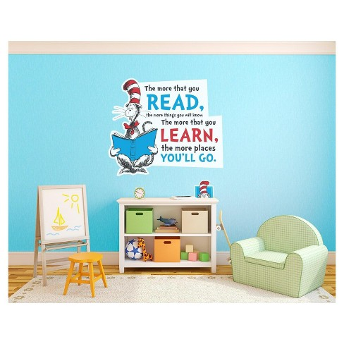 dr. seuss cat in the hat inspirational quote giant wall decal : target