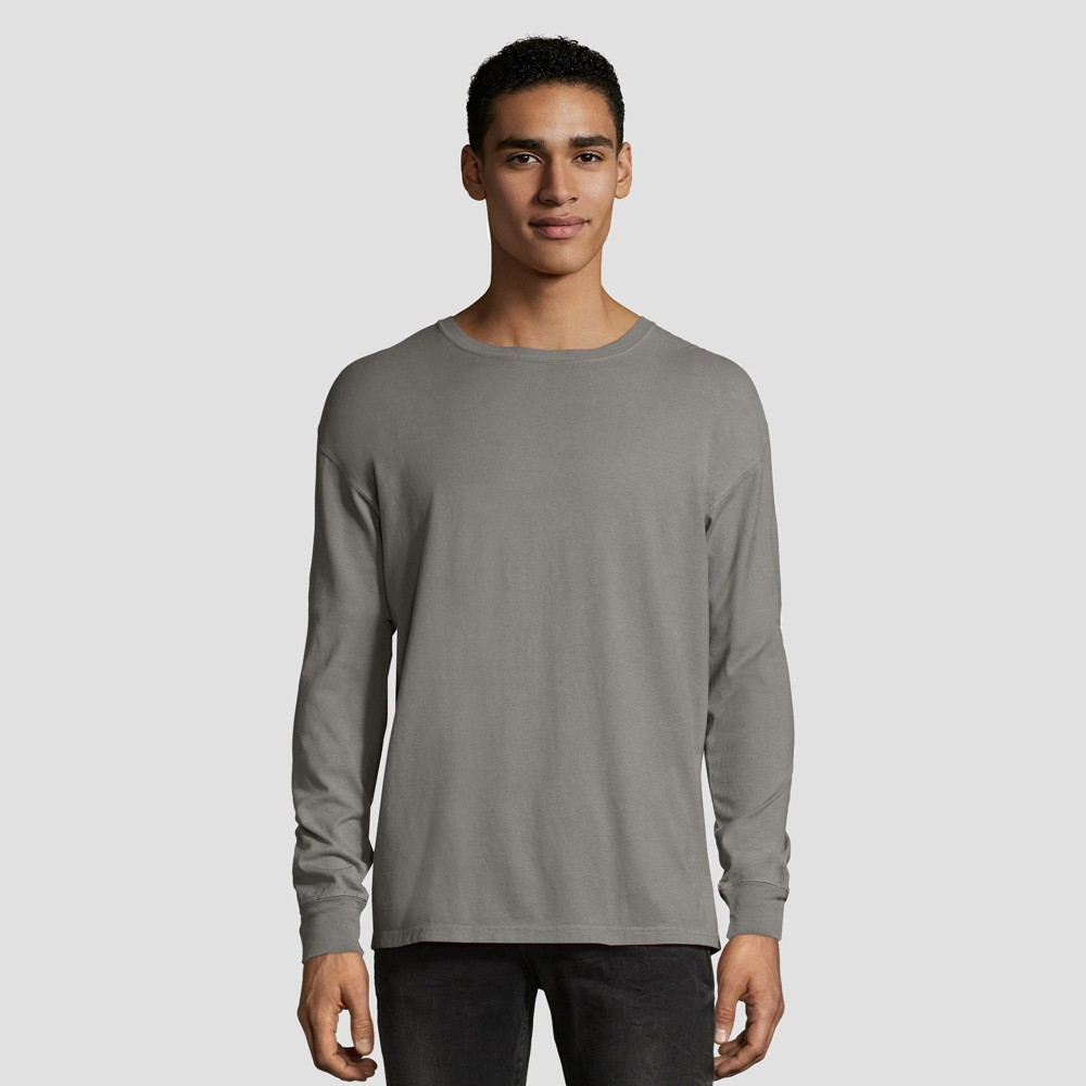 Hanes 1901 Men's Long Sleeve T-Shirt - Gray M