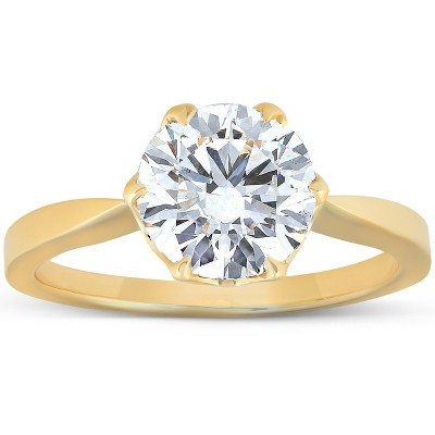 Pompeii3 2 Ct Moissanite Solitaire Engagement Ring 14k Yellow Gold