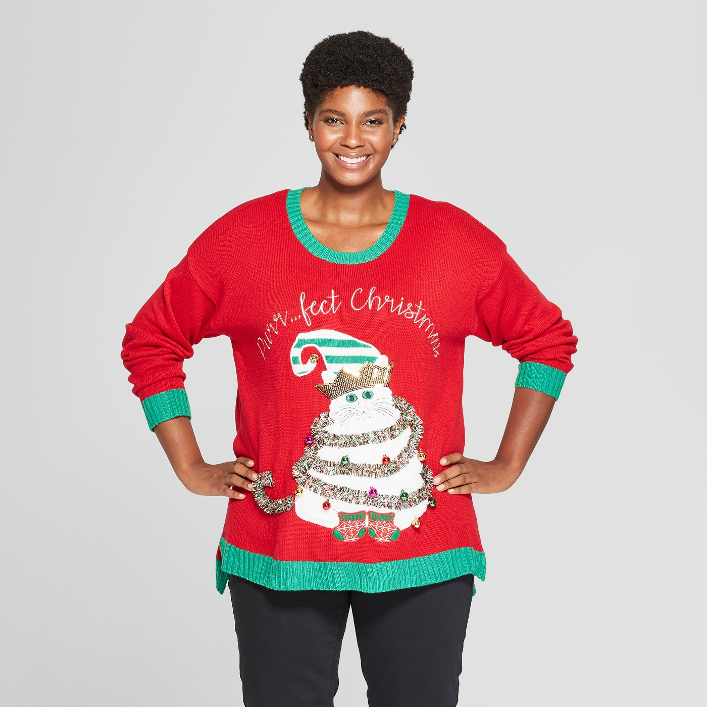 Women's Plus Size Purrfect Christmas Cat Ugly Sweater - 33 Degrees (Juniors') Red - image 1 of 2