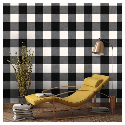 Devine Color Buffalo Plaid Peel Amp Stick Wallpaper Black