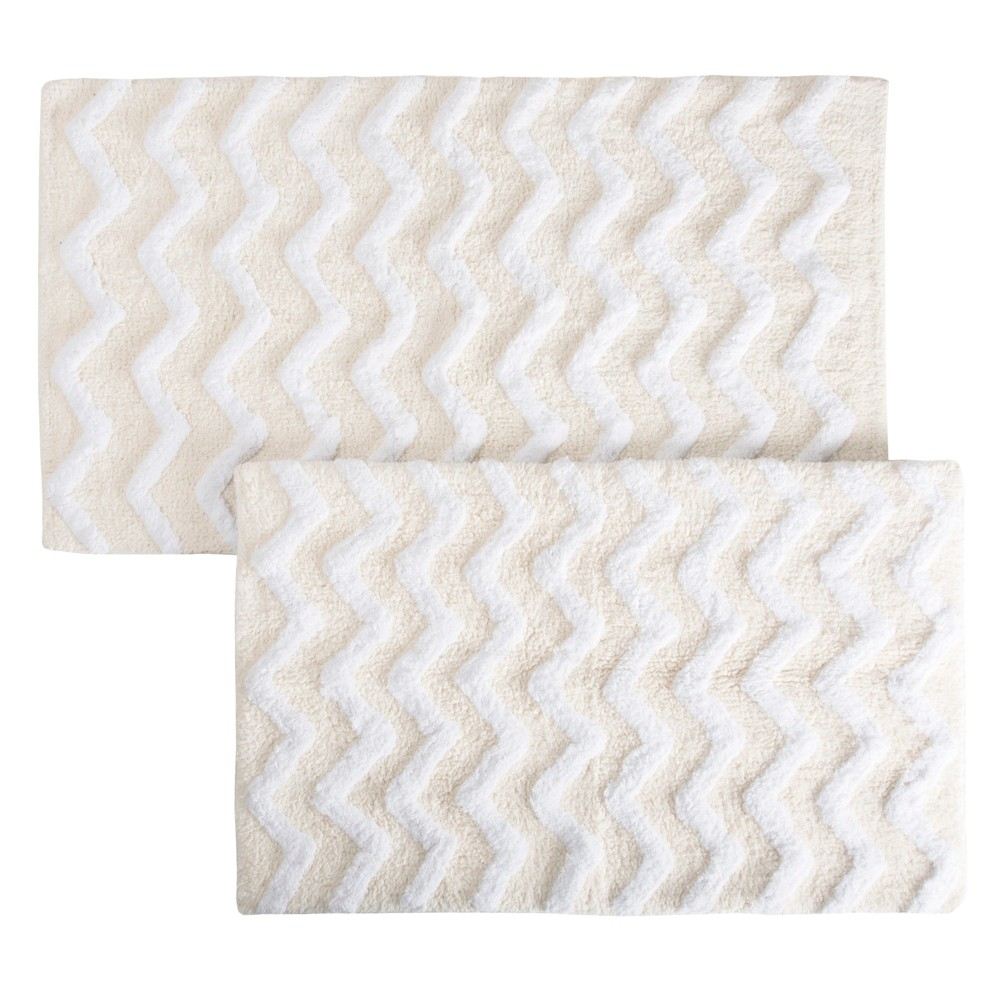 Image of 2pc Chevron Bathroom Mat Set Off White - Yorkshire Home