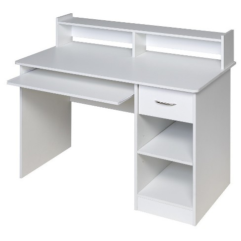 Onespace 50 Ld0101 Essential Computer Desk Hutch Pull Out Keyboard White Target