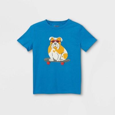 Boys' Skateboarding Bulldog Graphic Short Sleeve T-Shirt - Cat & Jack™ Medium Blue