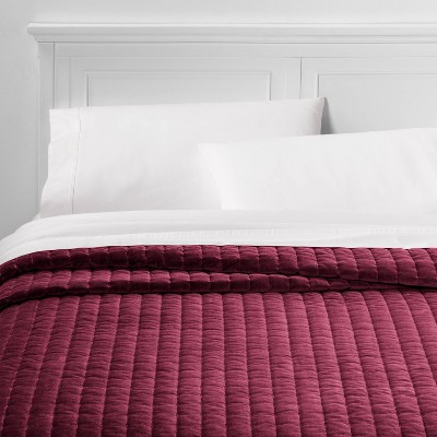 Full/Queen Channel Stitch Velvet Quilt Berry - Threshold™