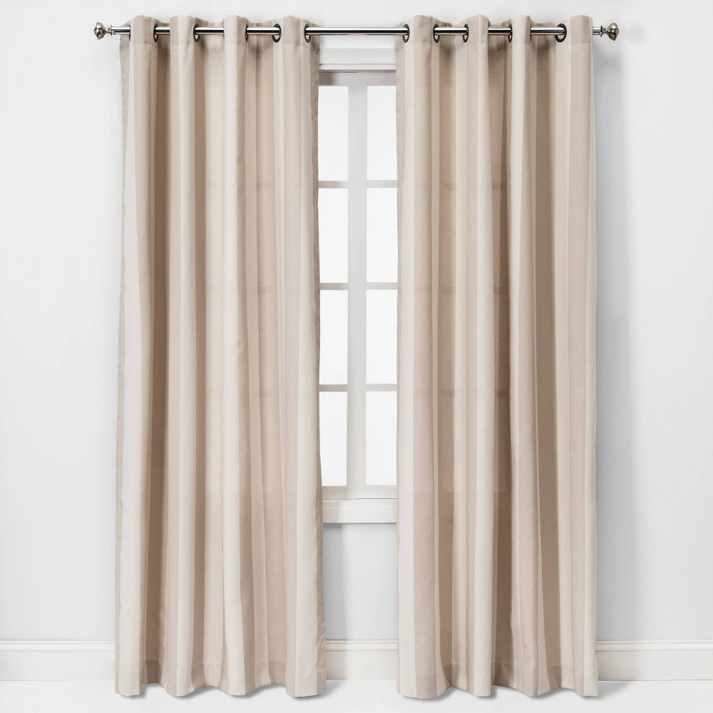 84x54 Cabana Stripe Light Filtering Curtain Panel Tan - Threshold was $29.99 now $14.99 (50.0% off)
