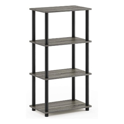 Furinno Turn-N-Tube 4 Tier Wooden PVC Corner Display Shelf and Bookcase for Living Room, Dining Room, Bedroom, and Office Spaces, French Oak Grey