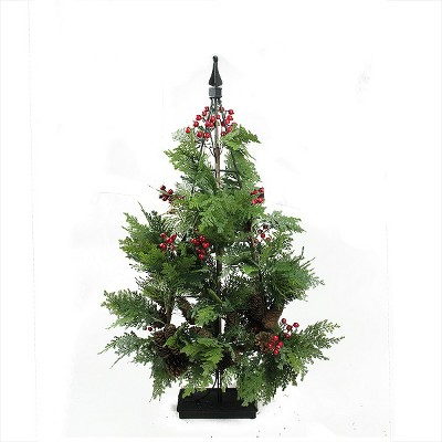 Allstate Floral 3' Unlit Artificial Christmas Tree Entryway Mixed Cedar with Pine Cones and Berries