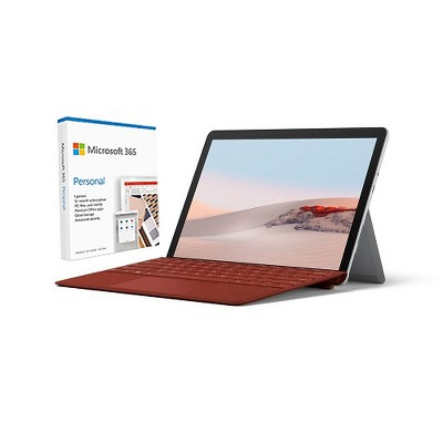 """Microsoft Surface Go 2 VALUE BUNDLE 10.5"""" Intel Pentium Gold 8GB RAM 128GB SSD+Surface Go Signature Type Cover PoppyRed+Microsoft 365 Personal 1Yr ..."""
