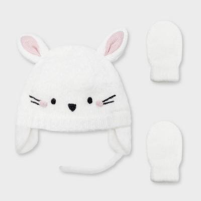 Baby Girls' Knit Bunny Trapper and Basic Magic Mittens Set - Cat & Jack™ Cream Newborn