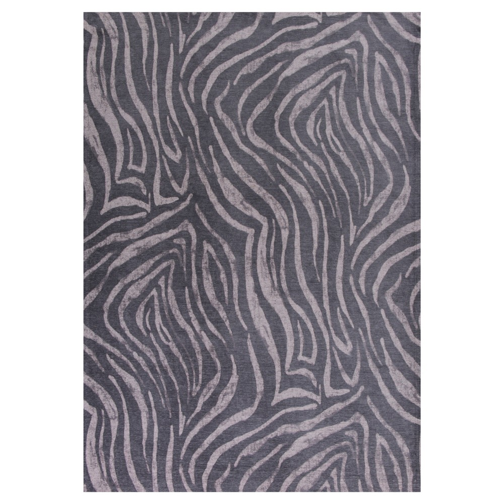 Charcoal Animal Print Pressed/Molded Area Rug 5'x7' - Kas Rugs, Gray
