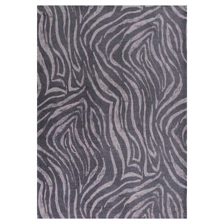"Charcoal Zebra Pressed/Molded Accent Rug 26""x45"" - KAS Rugs"