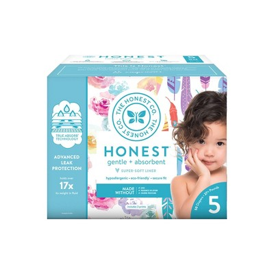The Honest Company Disposable Diapers Rose Blossom & Painted Feathers - Size 5 - 50ct