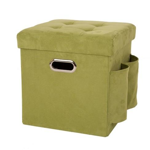 Amazing Faux Suede Foldable Cube Storage Ottomans Green Glitzhome Machost Co Dining Chair Design Ideas Machostcouk