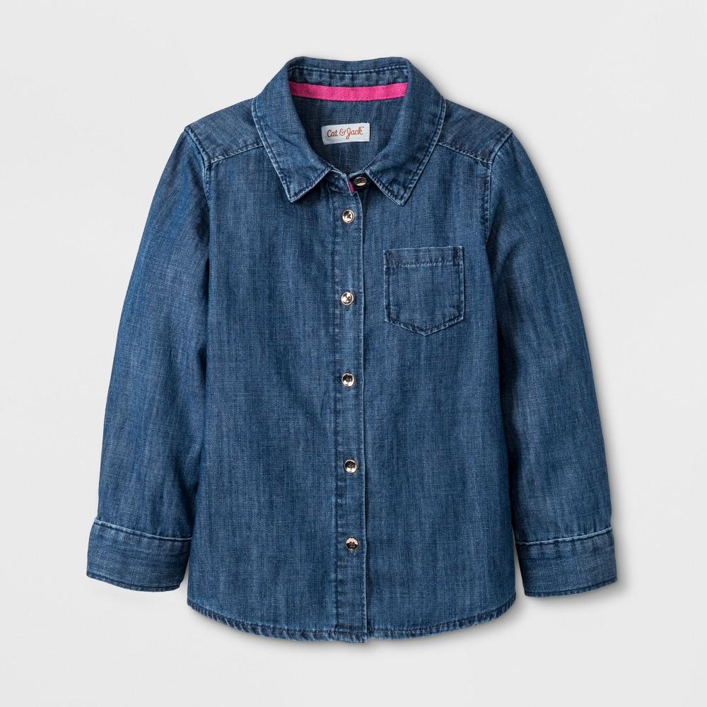 Toddler Girls' Button-Down Long Sleeve Shirt - Cat & Jack Denim Wash 3T, Blue