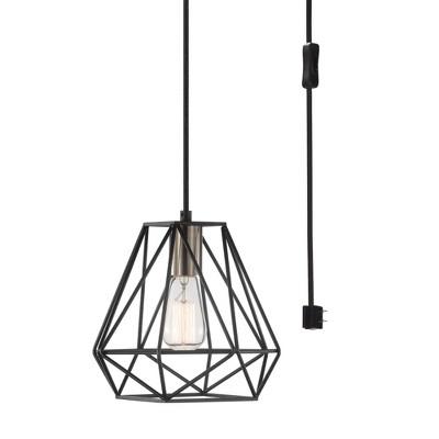 1 Light Sansa Plug-in or Hardwire Pendant Lighting Dark Bronze - Globe Electric