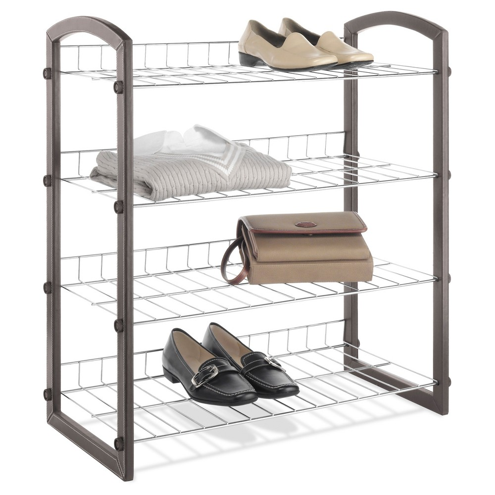 Whitmor Mfg Co 4-Tier Shoe Rack Faux Leather with Wire Sh...
