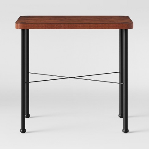 Goshen Wood Iron End Table Brown Threshold