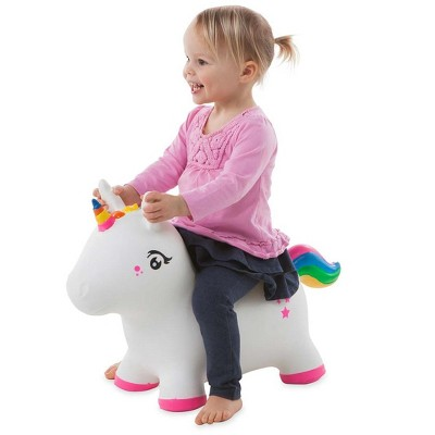 HearthSong Bouncy Inflatable Animal Jump-Along Ride-On Toy for Toddlers