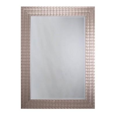 Textured Decorative Wall Mirror with Beveled Edge White - Yosemite Home Decor