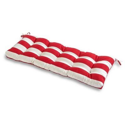 Cabana Stripe Red Outdoor Bench Cushion - Kensington Garden