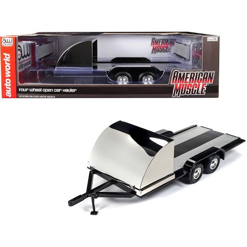 Four Wheel Open Car Hauler Trailer Black for 1/18 Scale Models by Autoworld - image 1 of 4