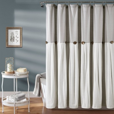 Linen Button Shower Curtain Gray - Lush Décor