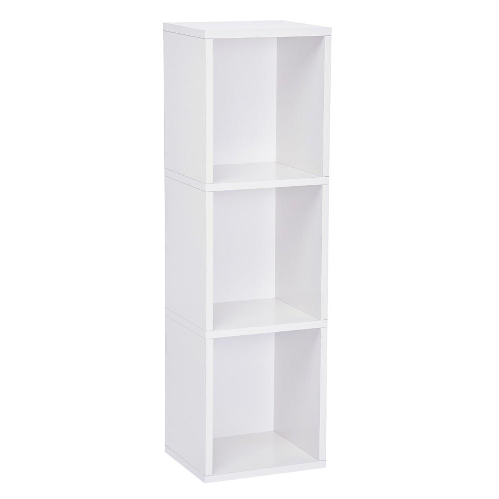 Way Basics 3-Shelf Narrow Bookcase Storage Shelf, Natural White - Formaldehyde Free - Lifetime Guarantee