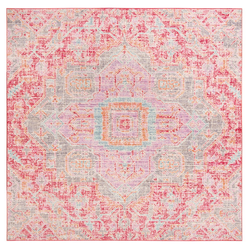 Rose (Pink) Medallion Loomed Square Area Rug 6'X6' - Safavieh