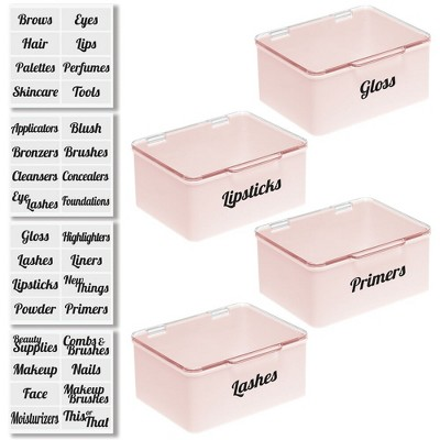 mDesign Stackable Plastic Bath Storage Organizer Box, 4 Pack + 32 Labels