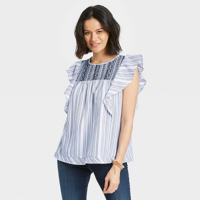 Women's Striped Flutter Short Sleeve Embroidered Top - Knox Rose™