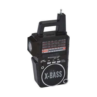 QFX AM/FM/SWI-6 8 Band Radio with Flashlight and USB/TF Player