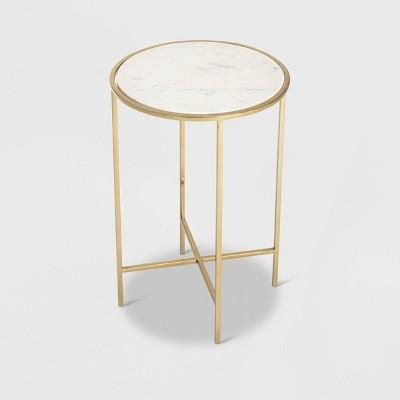Elliott Marble Side Table White/Gold - Adore Decor