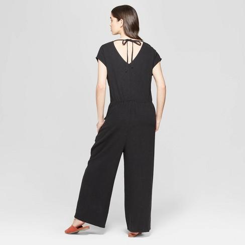 1a6a3d923e8 Women s Short Sleeve V-Neck Wide Leg Jumpsuit - Universal Thread™ Black XS    Target