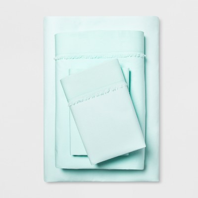 Cotton Percale Solid Fringe Sheet Set (Queen)Aqua - Opalhouse™