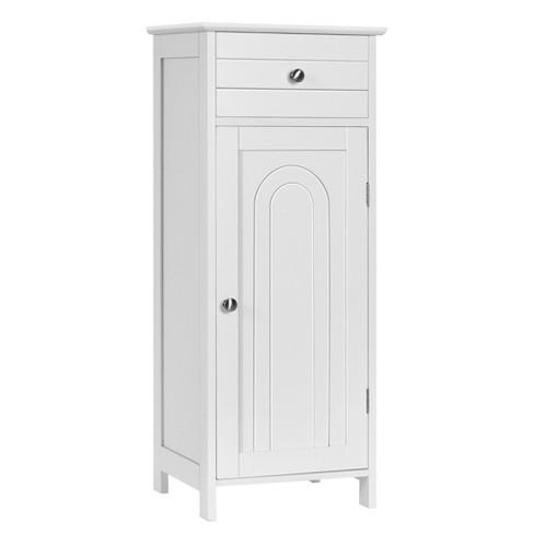 Costway Bathroom Floor Cabinet Wooden, Bathroom Floor Cabinet Storage Organizer With 4 Drawers Free Standing