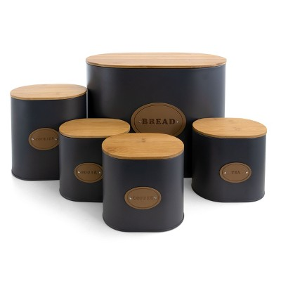 MegaChef Kitchen Food Storage and Organization 5 Piece Canister Set in Grey with Bamboo Lids