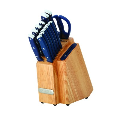Farberware 14pc Triple Rivet Slim Knife Block Set Navy